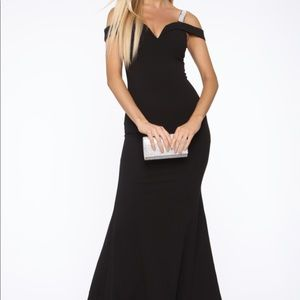 Long black gown with rhinestone strap detailing